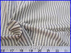 Discount Fabric Upholstery Drapery Ticking Stripe Gutmetal Gray / Natural KK38