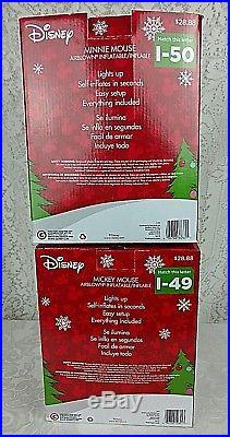 Disney Mickey Minnie Mouse 5 ft Christmas inflatable yard decoration lot of 2