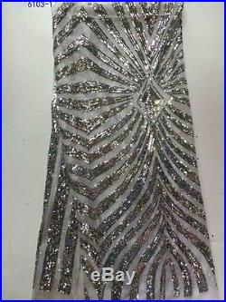 ELEGANT FRENCH SEQUINCES EMBROIDERED BRIDAL DRESS MESH LACE FABRIC 5YDS LOT
