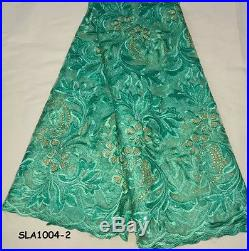 ELEGANT FRENCH SEQUINS FLORAL EMBROIDERED BRIDAL DRESS LACE FABRIC 5YDS LOT
