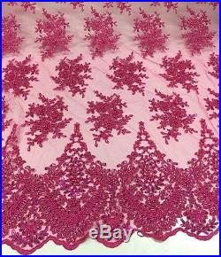 ELEGANT HANDMADE EMBROIDERED BEADED FLORAL BRIDAL MESH LACE FABRIC 5YDS LOT