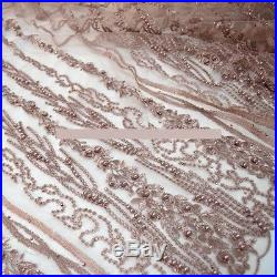 Elegant Tulle Embroidery Floral Beads Bridal Dress Fabric 5yds Lot
