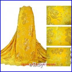 Elegant Velvet & Sequins Bridal Dress Lace Fabric 5yds Lot 52 Wide