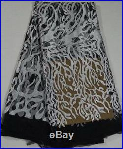 ELGANT FRENCH SEQUINS EMBROIDERED BRIDAL DRESS MESH LACE FABRIC 5YDS LOT