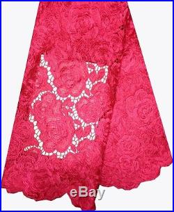Embroidered Guipure Floral Cord Bridal Dress Lace Fabric 5yds Lot 52w 9colors