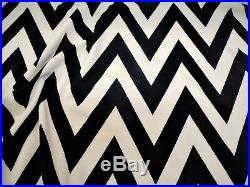Fabric Printed Liverpool Textured 4 way Stretch Chevron Zip Zag Black Sand H200