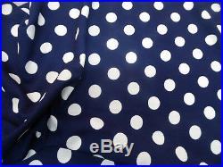 Fabric Printed Liverpool Textured 4 way Stretch Scuba Polka Dot Navy White J402
