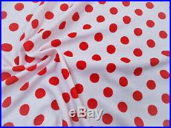 Fabric Printed Liverpool Textured 4 way Stretch Scuba Polka Dot Red Ivory G402