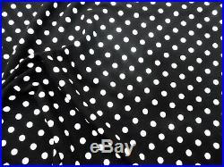 Fabric Printed Liverpool Textured 4 way Stretch Small Polka Dot Black White J400