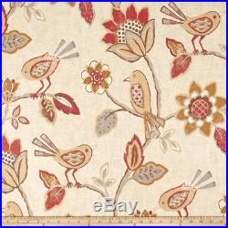 Fabric Richloom Upholstery Drapery Linen Cranbrook Adobe Floral Birds 43QQ