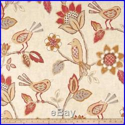 Fabric Richloom Upholstery Drapery Linen Cranbrook Adobe Floral Birds QQ43