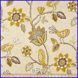 Fabric Richloom Upholstery Drapery Linen Cranbrook Yellow Floral Birds QQ44