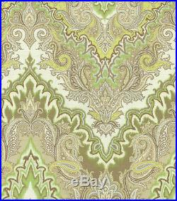 Fabric Upholstery Drapery Waverly Paisley Verse Mineral Green Gray Taupe FF37