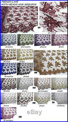 GORGEOUS FRENCH EMBROIDERED BEADED FLORAL BRIDAL MESH LACE FABRIC 5YDS LOT