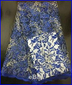 GORGEOUS FRENCH SEQUINS EMBROIDERED BRIDAL DRESS MESH LACE FABRIC 5YDS LOT