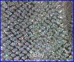 Gorgeous Silver Sparkle Glitter Soft Tulle Bridal Mesh Lace Fabric 5yds Lot