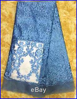 GORGEOUS TULLE EMBROIDERED STONES BRIDAL DRESS MESH LACE FABRIC 5YDS LOT