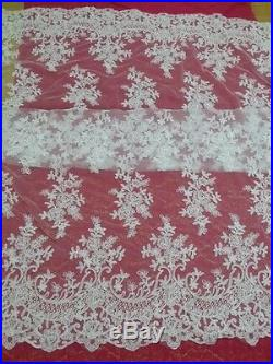 Gorgeous Embroidered Mesh Bridal Dress Lace Fabric 5 Yds Lot