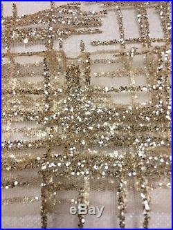 Gorgeous Gold Sparkle Glitter Soft Tulle Bridal Mesh Lace Fabric 5yds Lot