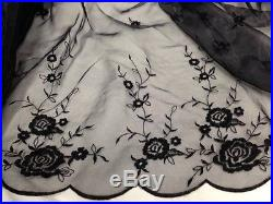 Gorgeous Rose Design on Double Bordered Scalloped Organza 55 Wide, 2 Yard Lot