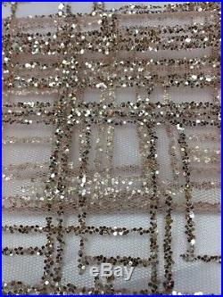Gorgeous Rose-gold Sparkle Glitter Soft Tulle Bridal Mesh Lace Fabric 5yds Lot