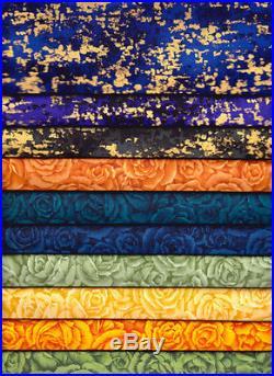 HUGE LOT 50 Piece Floral Earth Tones Quilt Fabric Scrap Bundle +16 Yards SET B