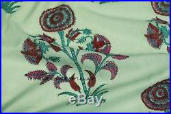 Hand Block Print Cotton Running Big Floral Fabric Sanganer Jaipur Lot 25 Yard