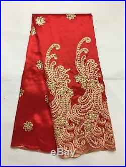 High Quality African Sequin Lace Fabric Beads George Lace Fabric Embroidery 2019