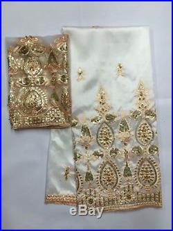 High Quality Embroidery Beaded Lace Fabric George Lace Fabric Cotton Dress White