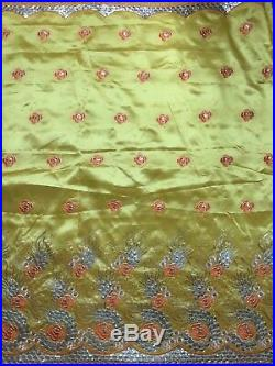 High Quality Yellow George Lace Fabric 2 Yards Sequins Net Lace African Clothing