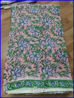 Indian Hand Block Print Pure 100%Cotton Voile Fabric Floral Print Ethnic 96 Yard