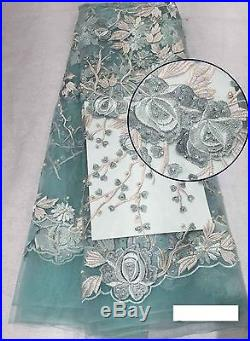 Latest Embroidered Floral Bridal Dress Tulle Mesh Lace Fabric 5yds Lot