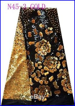 LATEST FRENCH SEQUINS EMBROIDERED BRIDAL DRESS MESH LACE FABRIC 5YDS LOT