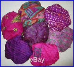 LOT MIX SILK Antique Vintage Sari REMNANT Cut Piece Fabrics MIXED COLORS JOURNAL