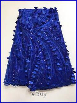 Latest 3D Appliques Sequins African Lace Fabric Swiss Voile Laces French Tulle