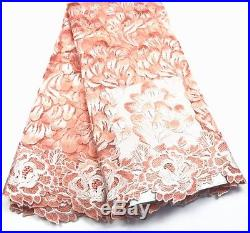 Latest Elegant Guipure Embroidered Floral Bridal Lace Fabric Materal 5yds Lot
