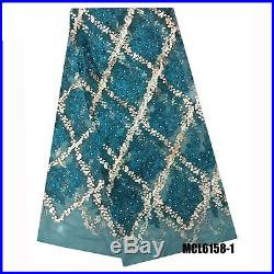 Latest Floral Embroidered Mesh Tulle Bridal Dress Lace Fabric 5yds Lot