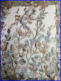 Latest design soft material african lace fabric with bead stones in 5yards/lot
