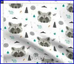 Leaves Arrows Trees And Lots Of Goodies In Racoon Spoonflower Fabric by the Yard