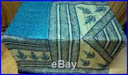 Light Blue Off-white Pure Silk 4 yard Vintage Sari Saree Fabric Lot Lots #6IAF1