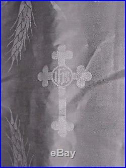 Liturgical Lamb of God Cross Brocade Irish Linen Damask Fabric 27 Wide 7 Yards