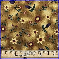 Lot Red Rooster Fabrics Baskets and Blooms 7 Prints 8.75 Yards Purple and Yellow