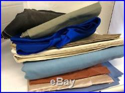 Lot Wholesale of Fabric Cotton Denium Yards Brown Lt Blue White Dk Blue Cotton