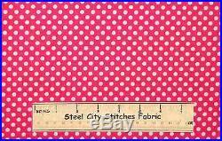 d0e5e9ac42c Lots-A-Dots Dark Pink White Polka Dot Diva Girl Geometric Cotton Fabric YARD