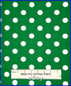 Lots A Dots White Green Polka Dot Geometric Circles Girly Cotton Fabric YARD