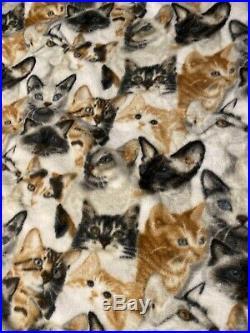 Lots Of Cats Fleece Fabric 1 Piece 4 Yards X 48