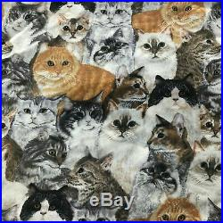 Lots of Cute Cats Quilt Fabric 1 Yard
