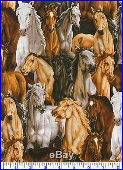 Lots of Horses Quilt Fabric Half Yard