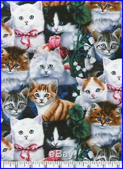 Lots of Kittens Quilt Fabric Free Shipping Half Yard
