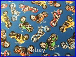 Many many Motorcycles Lots of colors 1 Yard 44 inches wide